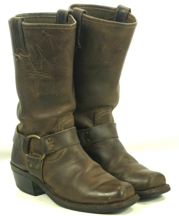 Frye Distressed Brown Leather Harness Biker Motorcycle Boots US Made Women