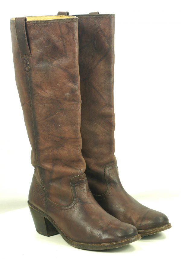 Frye Knee High 18-Inch Tall Brown Leather Flat Top Boots High Heels Women