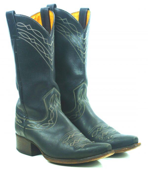 Frye Royal Blue Leather Cowboy Western Snip Toe Boots Vintage Spain Women
