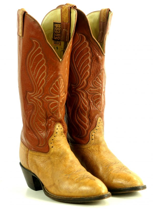 Hondo 16 Tall Top Cowboy Western Boots Caramel & Tan Leather Handmade Men