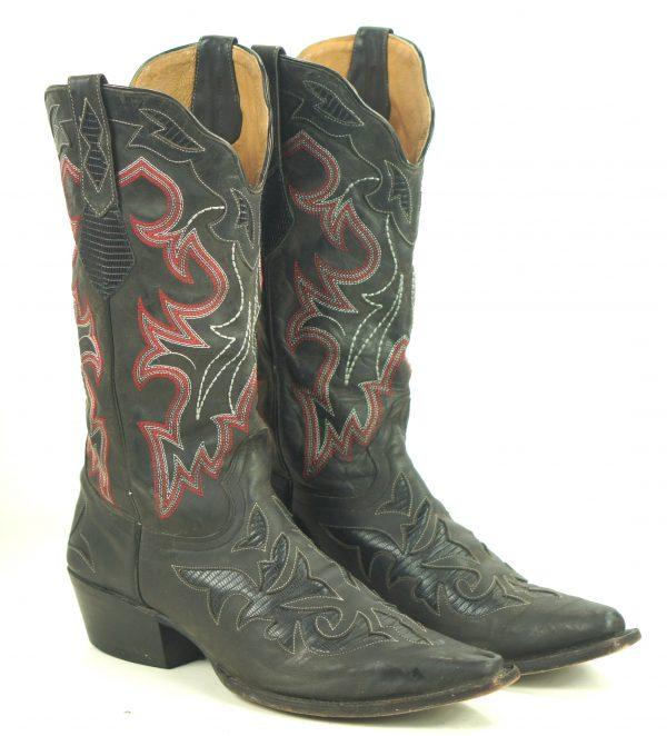 Johnny Ringo Black Leather Cowboy Boots Red Stitch Cutouts JRL002 Women