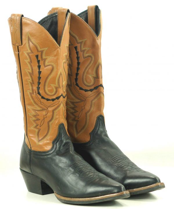 Justin Black And Brown Leather Cowboy Western Boots Stitched Arrows Women