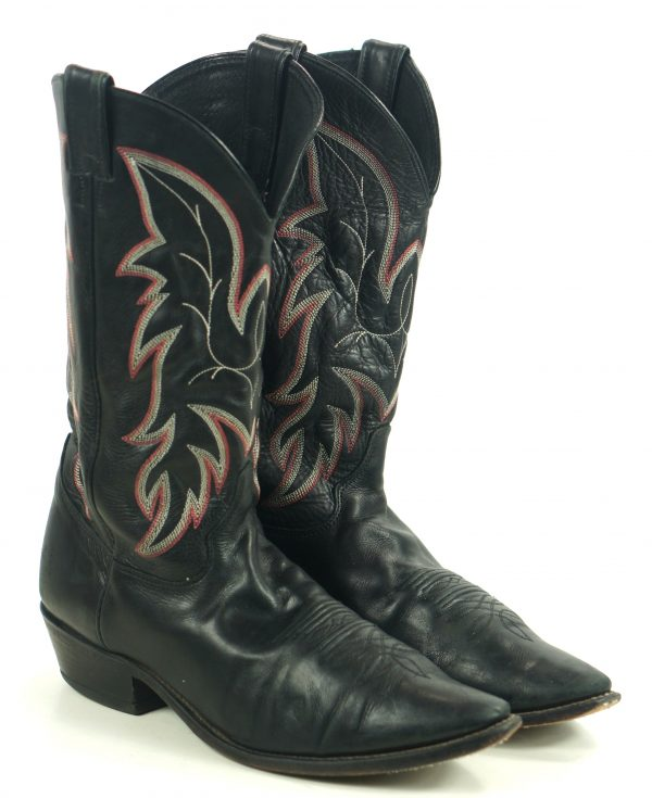 Justin Black Leather Cowboy Boots Red White Stitch USA Handcrafted Men