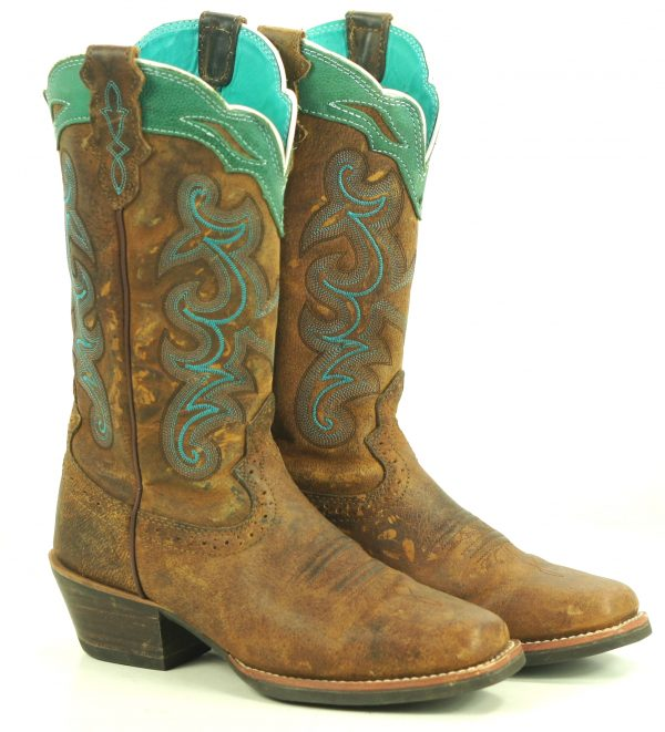 Justin Distressed Brown And Turquoise Leather Cowboy Western Boots Women