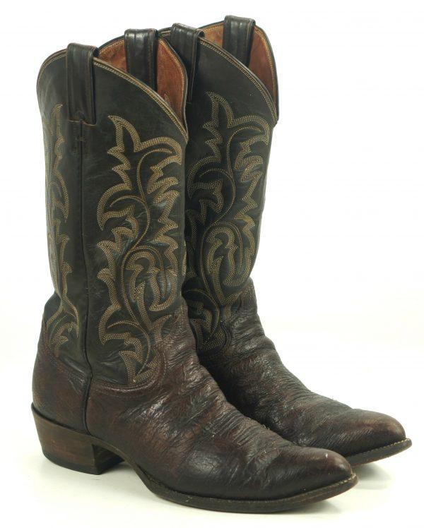 Justin Ft Worth Dark Brown Cowboy Western Boots Vintage Texas USA Made Men