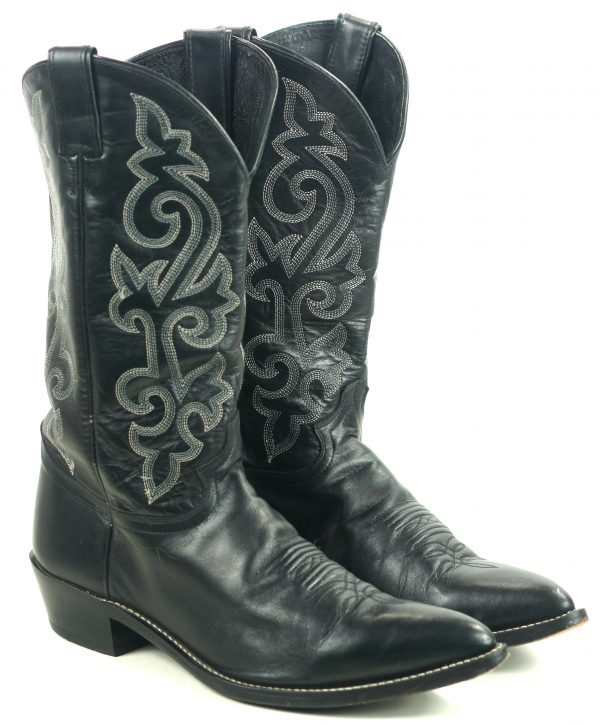 Justin Wicked Black Leather Western Cowboy Boots Pointy Toe Mexico Men