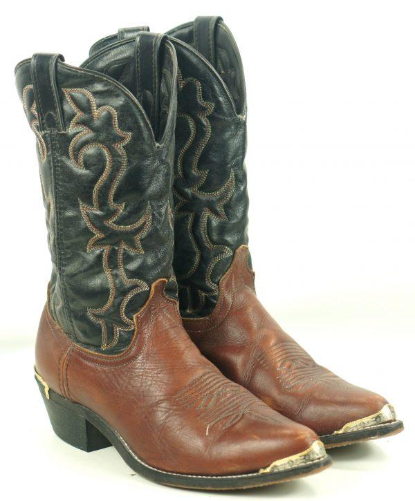 Laredo Black Brown Leather Cowboy Western Boots Tips Vintage US Made Men