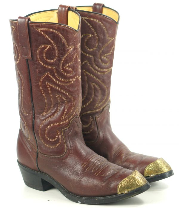 Mason Brown Leather Cowboy Western Work Boots Vinram Soles Vintage US Made (6)