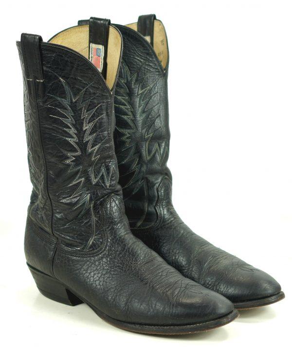 Nocona Black Leather Western Cowboy Boots Vintage 1990 US Made Men