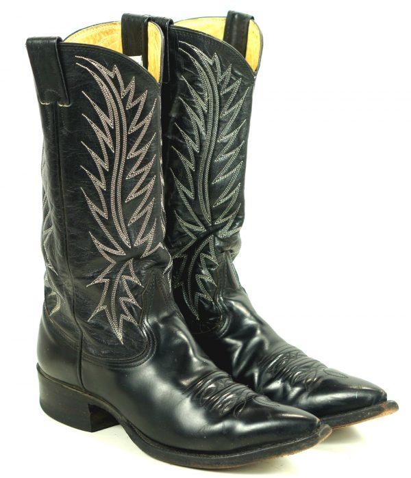 Nocona Black Leather Western Cowboy Boots Vintage USA Made Snip Toe Men