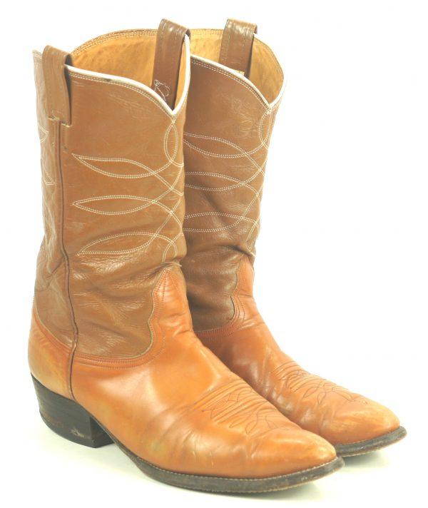 Nocona Distressed Caramel & Brown Cowboy Boots Vintage USA Made Men