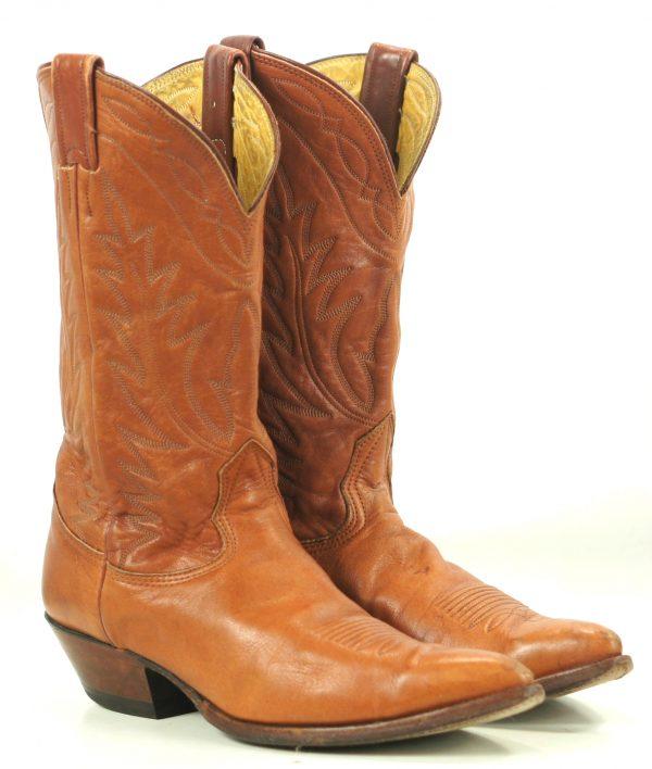 Nocona Pumpkin Brown Leather Cowboy Western Boots Vintage US Made Women
