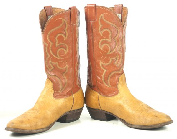 Nocona Western Cowboy Boots Two Tone Brown Leather Vintage US Made (7)