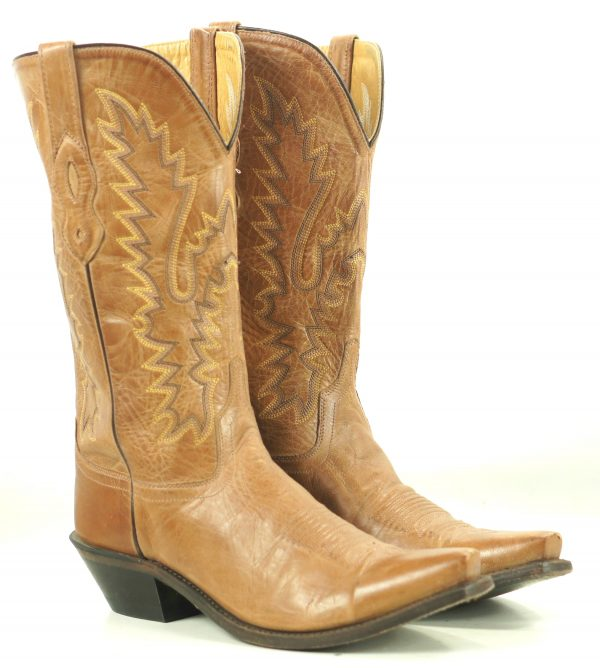 Old West Marbled Honey Brown Leather Cowboy Western Boots LF1529 Women