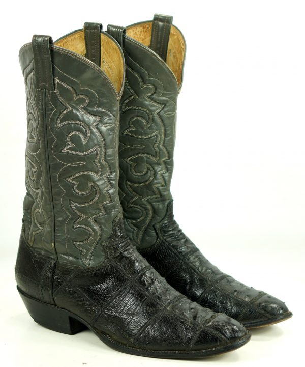 Panhandle Slim Full Quill Ostrich Patchwork Two Tone Cowboy Boots Men