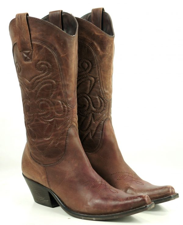 Penny Loves Kenny Hi Noon Tall Distressed Brown Snip Toe Cowboy Boots Women