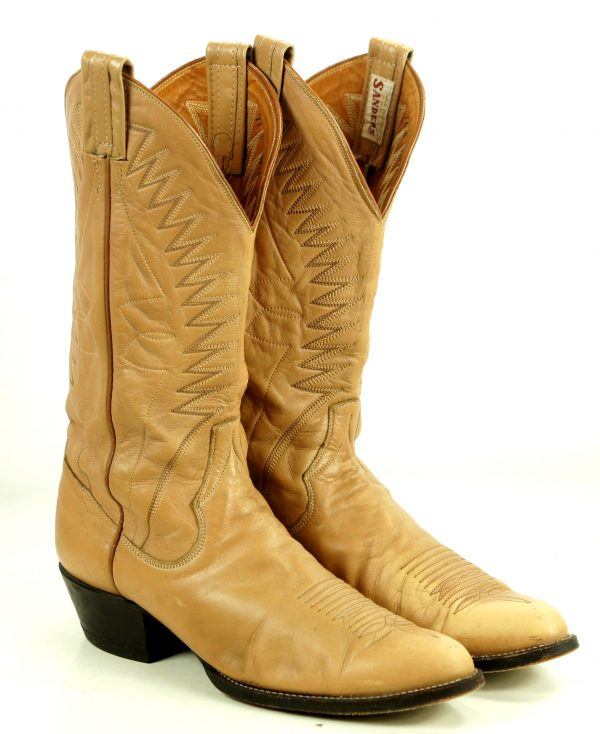 Sanders Golden Tan Leather Western Cowboy Boots Handcrafted Mexico Men