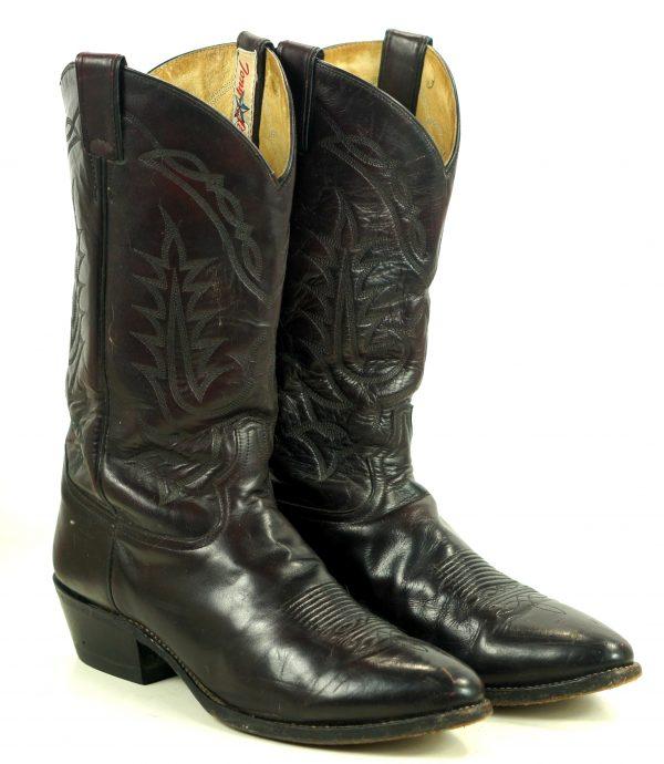 Tony Lama Black Cherry Leather Western Cowboy Boots Vintage White Label Men (4)