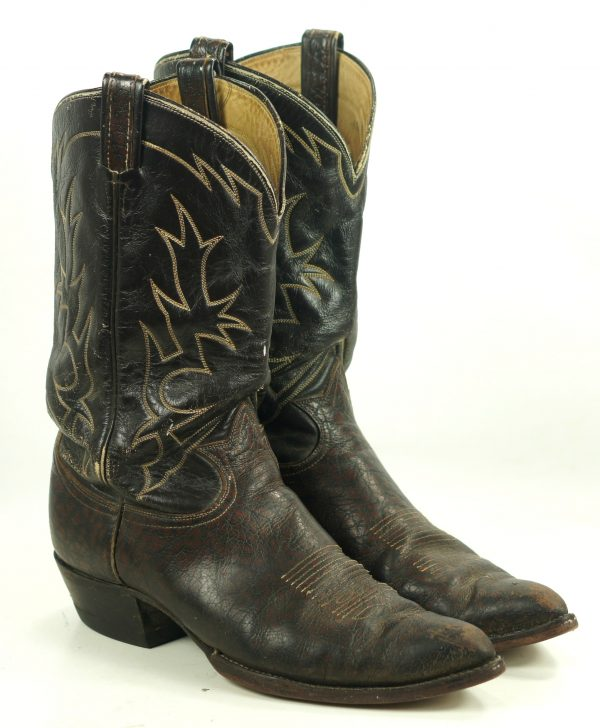 Tony Lama Cowboy Boots Peanut Brittle Vintage 70s Black Label USA Made Mens (2)