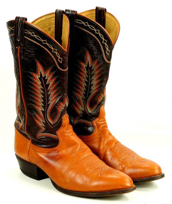 Tony Lama Cowboy Boots Vintage US El Paso TX Made 10 Row Rainbow Stitch Men