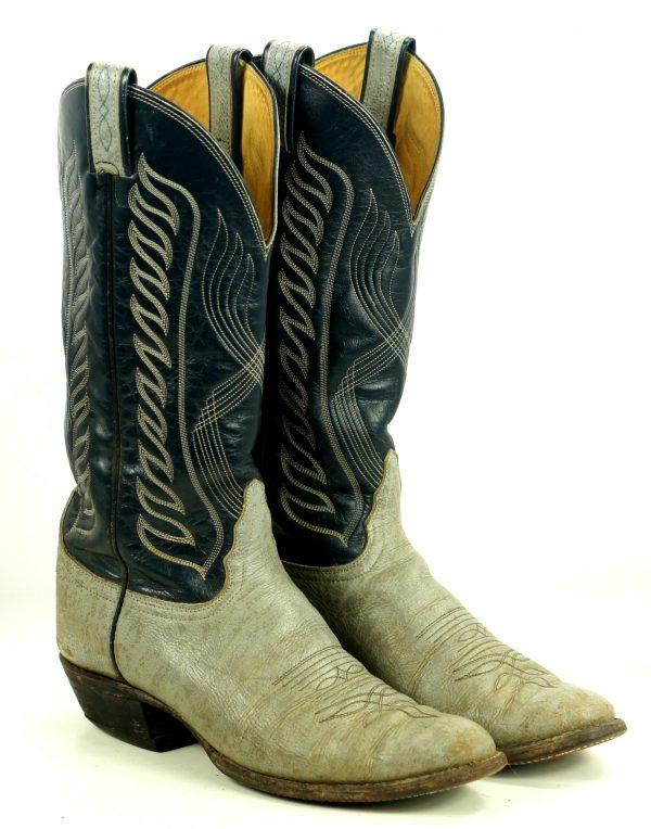 Tony Lama Gray Navy Leather Cowboy Boots Vintage Black Label US Made Men