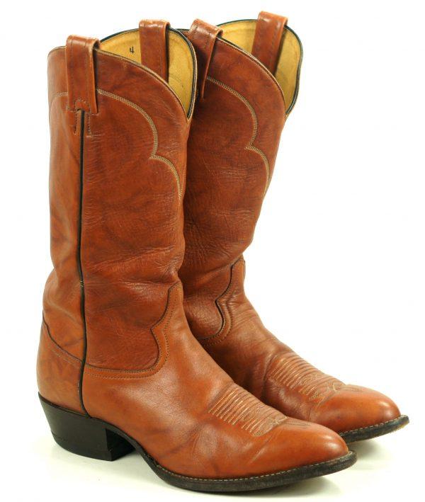Tony Lama Marbled Caramel Leather Cowboy Boots Vintage US Made Men