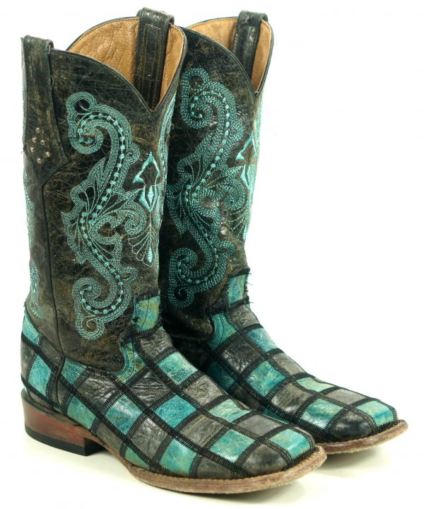 Ferrini Turquoise & Gray Patchwork Leather Cowboy Boots 6-Row Stitch Women