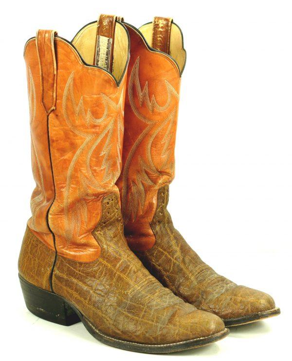 Rios Of Mercedes Orange Brown Exotic Western Cowboy Boots Vintage 70s Men