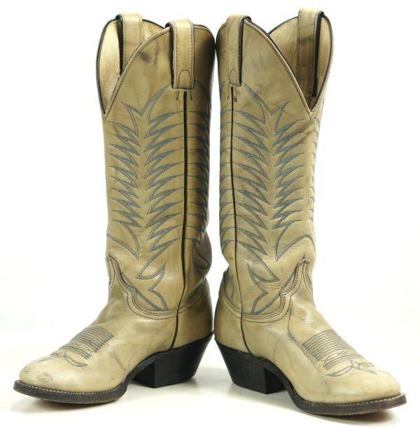 Abilene Marbled Bone Leather Cowboy Boots Blue Stitch Vintage US Made Women