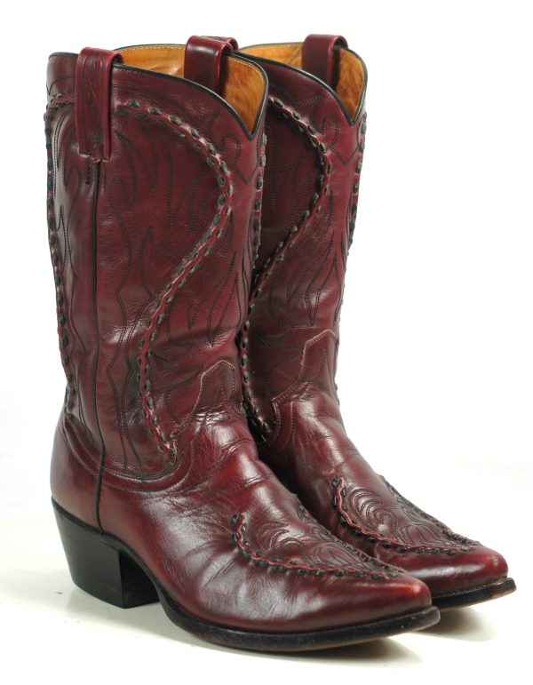 Dan Post Burgundy Leather Cowboy Boots Braided Trim Spain Vintage 80s Men (5)
