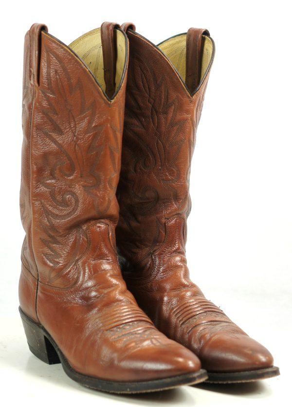 Dan Post Russet Brown Leather Western Cowboy Boots Vintage US Made Men