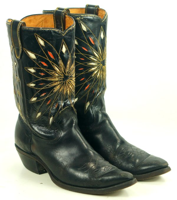 Dodge City Black Leather Cowboy Boots Inlay Gold Sunburst Vintage 50s 60s Men