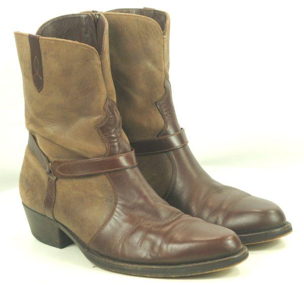 Florsheim Brown Leather Suede Biker Harness Ankle Boots Brazil Men