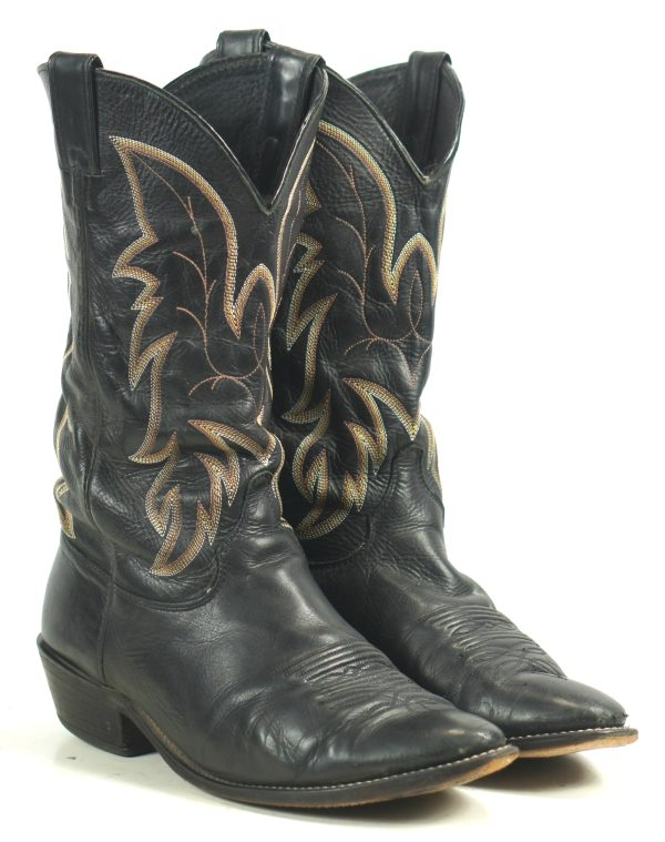 Justin Black Leather Cowboy Western Boots Handcrafted USA Made Men