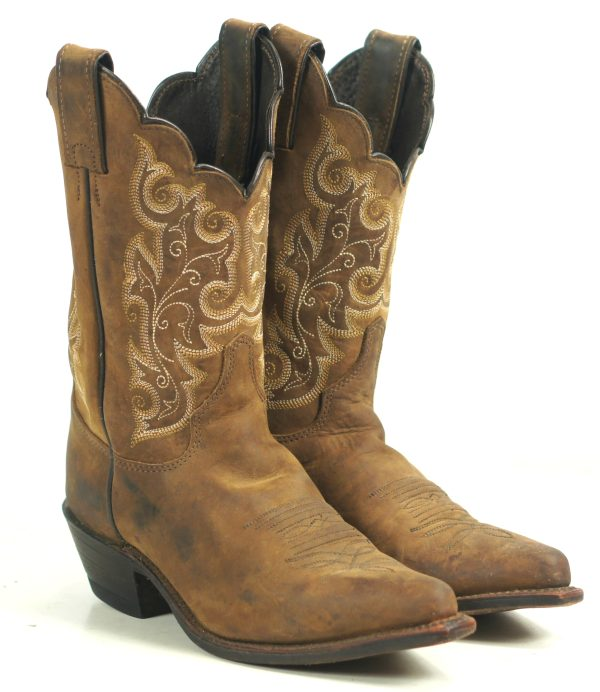Justin Brown Leather Cowboy Western Shorty Boots USA Handcrafted Women