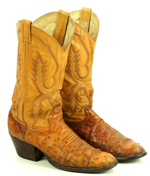 Larry Mahan Full Quill Ostrich Distressed Cowboy Boots Vintage US Made Men