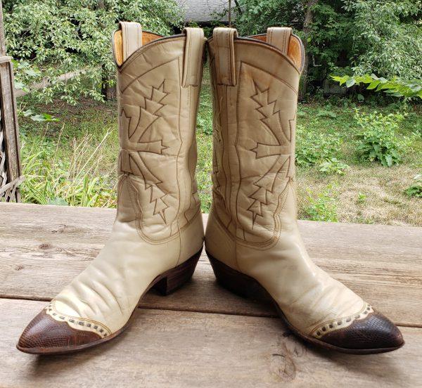 Nocona Cream Cowboy Western Boots Brown Wingtips Vintage US Made Women