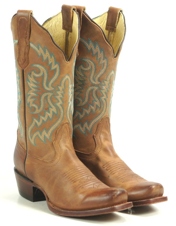 Nocona-Distressed-Brown-Leather-Cowboy-Boots-8-Row-Turquoise-Stitch-Womens-