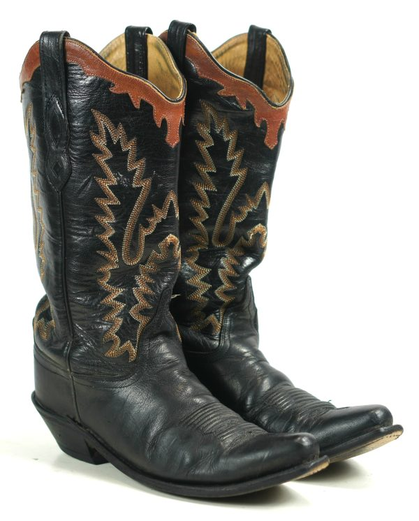 Old West Black Leather Cowboy Western Boots Brown Collar Scallop LF1552 Women (9)