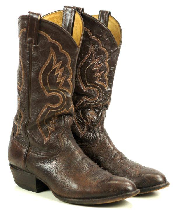 Tony Lama Dark Brown Leather Western Cowboy Boots Vintage US Made Men
