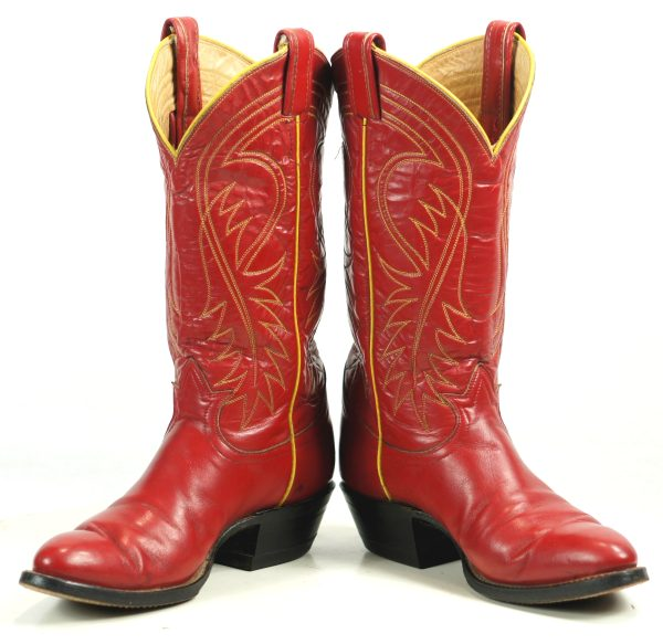 Tony Lama Red Cowboy Boots Yellow Piping Vintage Black Label US Made Women