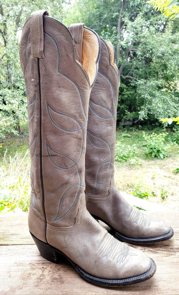 Vintage Hondo Pale Gray Leather Knee High Cowboy Boots Blue Stitch Women