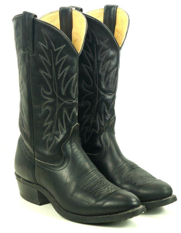 Wrangler Black Cowboy Western Work Boots Oil Resistant Vintage US Made Mens (10)