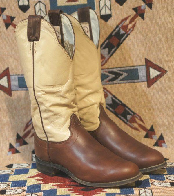 Caballo Buckaroo Cowboy Western Boots Tall Brown & Bone Leather Santa Fe Men