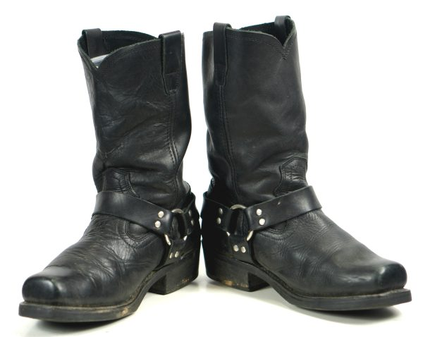 Cody James Black Leather Harness Biker Motorcycle Boots Straps Men