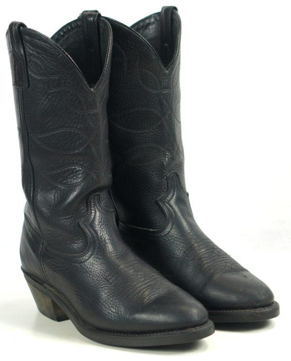 Dan Post Black Leather Biker Cowboy Work Boots Vibram Vintage US Made Men