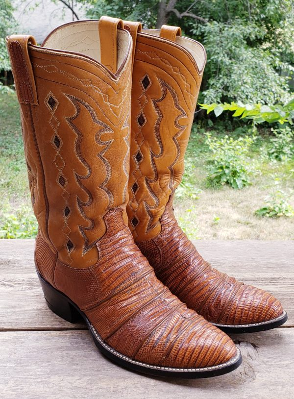 Dan Post Lizard Cowboy Western Boots Inlay Diamonds Vintage 1979 US Made Men (12)