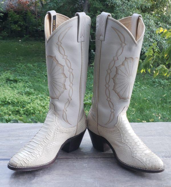 Dan Post White Snake Cowboy Wedding Boots Vintage 1988 US Made Women