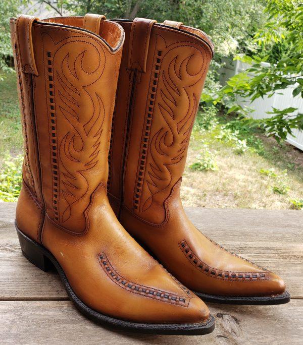 Double-H Cowboy Western Boots Vintage US Made Patina Saddle Stitch Men