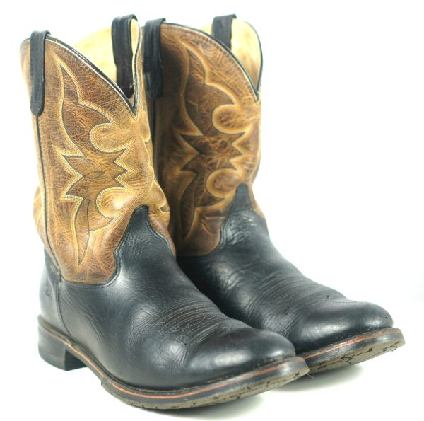 Double H HH Ranchwell Cowboy Western Boots Brown And Black US Made Men